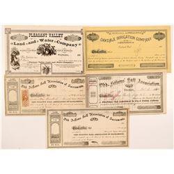 Five California Non-Mining Stock Certificates   (107104)