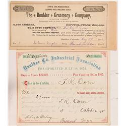 Two Early Boulder, Colorado Stock Certificates (Non-Mining)   (104350)