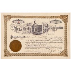 Mesa Hotel & Improvement Company Stock Certificate   (104354)