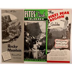 Three Advertising Pamphlets: Pikes Peak, Estes Park, Rocky Mountain National park   (104495)