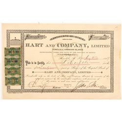 Hart & Company Stock Certificate with Hawaiian Revenue Stamps (Candy & Ice Cream)   (103503)