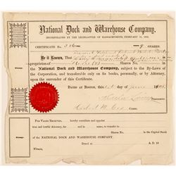 Sock Certificate / National Dock & Warehouse Co.    (105028)