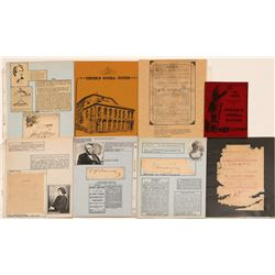 Piper's Opera House & Other Comstock Theatre Ephemera incl. Davy Crockett Auto.   (107384)