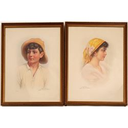 Lithographs / Gypsy Girl & Boy / 2 Items   (105388)