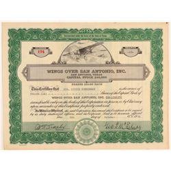 Wings Over San Antonio, Inc. Stock Certificate    (108044)
