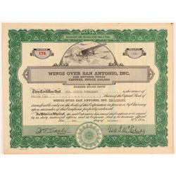 Wings Over San Antonio, Inc. Stock Certificate    (108044)
