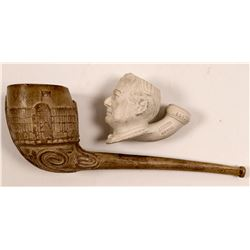 Gambier Bryan Figural Pipe, Number 1683 and Unknown Large Bowl Decorative Pipe   (104489)