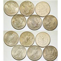 Morgan & Peace Dollars/  3 Items .   (105056)