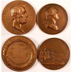"Two 2.75"" Medals: French George Washington and Abe Lincoln   (104485)"