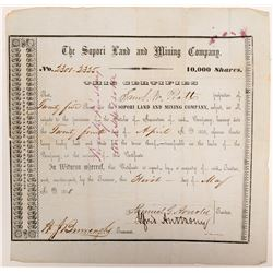 Sopori Land and Mining Company Stock Certificate   (106526)