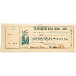San Augustine Mining Company of Arizona Stock Certificate   (88017)