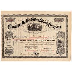 Cincinnati Gold and Silver Mining Company Stock Certificate - TERRITORIAL!    (108043)