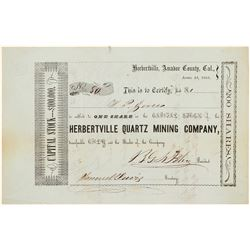 Herbertville Quartz Mining Company Stock Certificate   (104342)