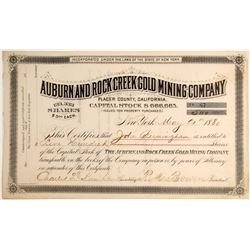 Auburn and Rock Creek Mining Company Stock, Placer County   (79213)
