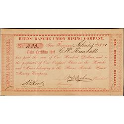 Burns Ranche Union Mining Company - One of the Earliest Known California Issued Mining Stocks   (108