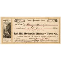 Red Hill Hydraulic Mining & Water Co. Stock Certificate   (107034)