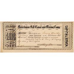 Mokelumne Hill Canal & Mining Company Stock Certificate    (107028)