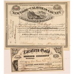 Two Calaveras County Mining Stock Certificates   (107003)