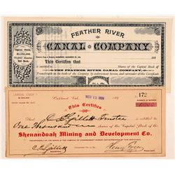 Two California Stock Certificates: Mining & Canal   (103481)