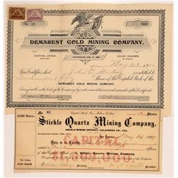 Two Different Angels Camp Mining Stock Certificates   (107255)