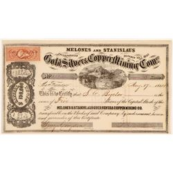 Melones and Stanislaus Gold, Silver & Copper Mining Co. Stock Certificate  (108066)