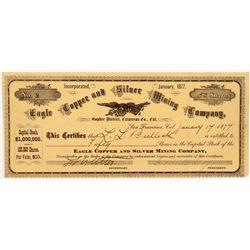 Eagle Copper & Silver Mining Company Stock Certificate   (104411)