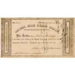 Columbia Gulch Fluming Company Stock Certificate   (107321)