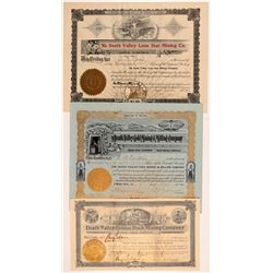 Three Rare Death Valley Mining Stock Certificates   (107227)