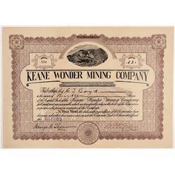 Keane Wonder Mining Company Stock Certificate   (107121)