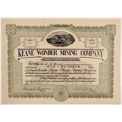 Keane Wonder Mining Company Stock Certificate   (107120)