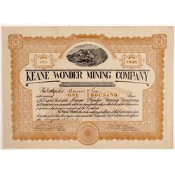 Keane Wonder Mining Company Stock Certificate   (107119)