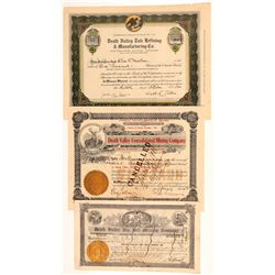 Three Different Death Valley Mining Stock Certificates   (107232)