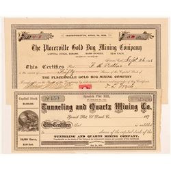 Two El Dorado County Mining Stock Certificates   (104416)