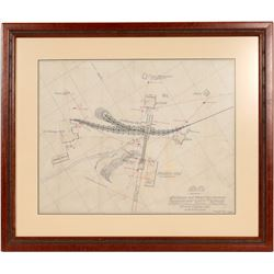 Prescott Hill Mine Framed Sketch of Buildings and Water Pipe System   (106487)