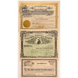"Three ""Grass Valley"" Mining Stock Certificates   (107302)"