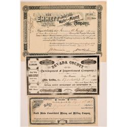 Grass Valley & Nevada City Mining Stock Certificate Trio   (104377)