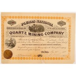 Plumas National Gold Mining Co. Stock Certificate   (107071)