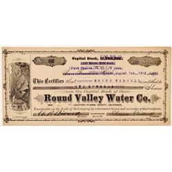 Round Valley Water Co. Stock Certificate   (107070)