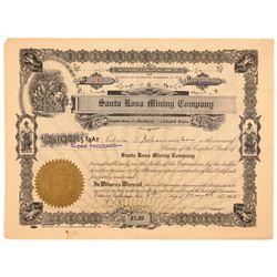 Santa Rosa Mining Company Stock Certificate   (107309)