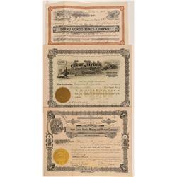Cerro Gordo Mining Stock Certificate Trio   (107304)
