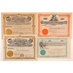 Four Different Greenwater Mining Stock Certificates   (107257)