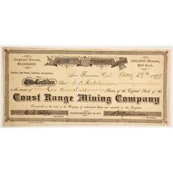 Coast Range Mining Company Stock   (86152)