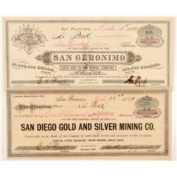 Two Marin County, California Mining Stock Certificates   (104466)