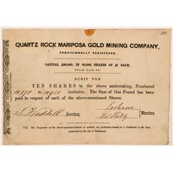Quartz Rock Mariposa Gold Mining Company Stock Certificate   (107288)