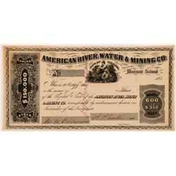 American River Water & Mining Co. Stock Certificate   (107322)
