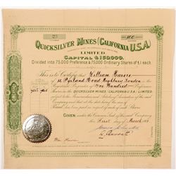 Quicksilver Mines (California USA) Ltd. Stock Certificate   (104409)