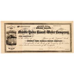Middle Yuba Canal & Water Company Stock Signed by Judson   (107029)