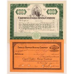 Engels Copper Mining Company Stock Certificates   (107310)