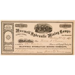 Maxwell Hydraulic Mining Company Stock Certificate   (104379)