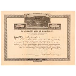Yellow Aster Mining & Milling Co. Stock Certificate   (107268)